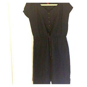 Tie waist linen dress